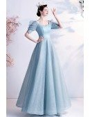 Princess Bubble Sleeved Bling Blue Prom Dress with Sleeves