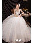 Beaded Ballgown Tulle Wedding Dress Strapless