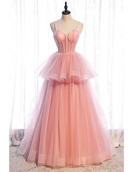 Cute Pink Ruffled Tulle Ballgown Formal Dress with Corset Top