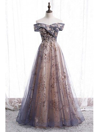 Dusty Purple Grey Long Tulle Prom Dress Off Shoulder with Sequins