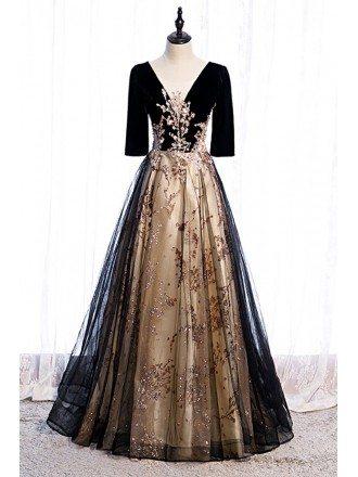 Black Tulle Vneck Evening Formal Dress with Bling Sequins Sleeves