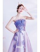 Dreamy Ombre Purple Flowy Tulle Long Prom Dress with Flowers