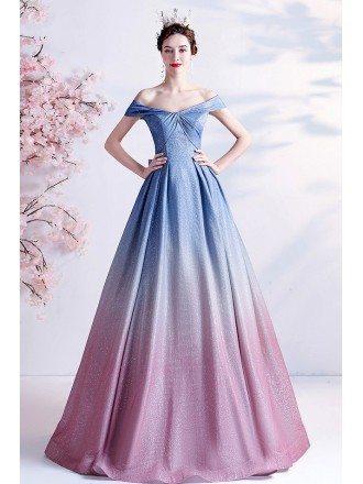 Dreamy Ombre Blue Pink Princess Prom Dress Off Shoulder