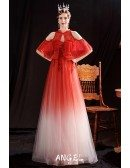 Ombre Tulle Aline Long Sweetheart Prom Dress with Cold Shoulder Jacket
