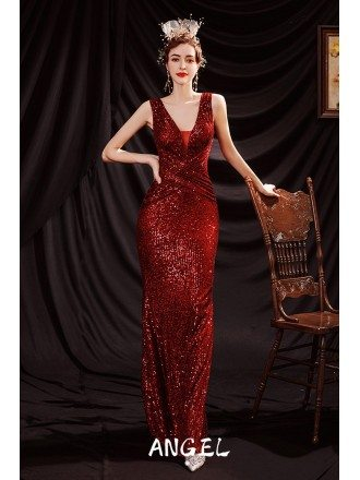 Sparkly Red Sequins Mermaid Formal Party Dress Vneck Sleeveless