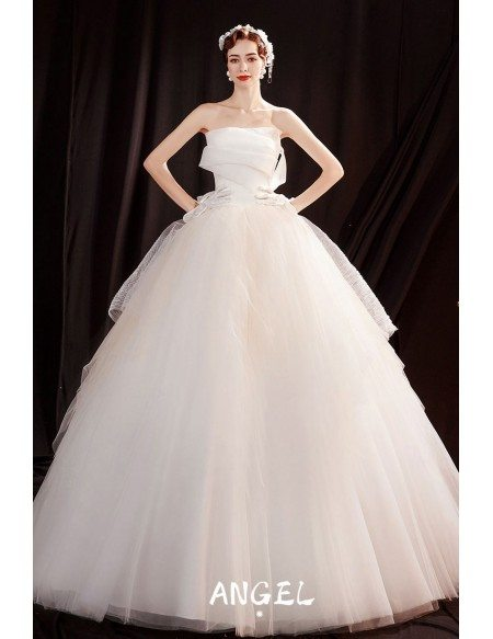 Simple Ballgown Tulle Wedding Dress Strapless with Laceup
