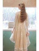 Vneck Gold Sequins High Low Sparkly Party Dress with Dolman Sleeves