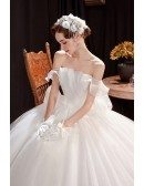 Gorgeous Off Shoulder Ballgown Wedding Dress with Bling Ruffles