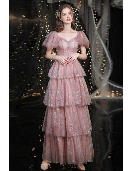 Sparkly Pink Tiered Long Party Dress with Puffy Sleeves