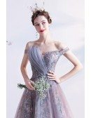 Beautiful Flowers Purple Pink Tulle Long Prom Dress with Off Shoulder Straps