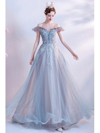 Gorgeous Dusty Blue Tulle Prom Dress with Sequined Off Shoulder