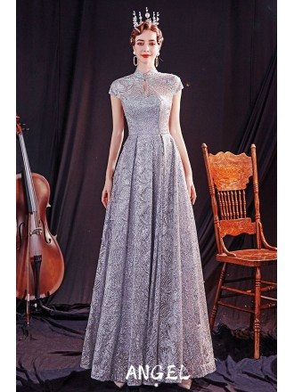 Modest Bling Silver Formal Party Dress with Collar Cap Sleeves