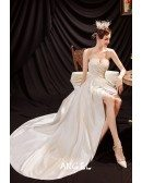 Ivory Satin High Low Sexy Wedding Reception Dress with Big Bow In Back