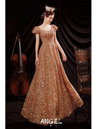 Shinning Gold Sequins Round Neck Party Dress with Bubble Sleeves
