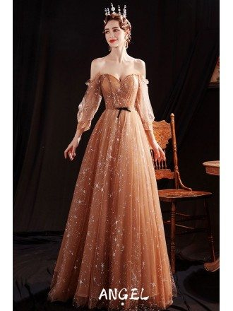 Bling Star Coffee Gold Aline Tulle Prom Dress with Off Shoulder Sleeves