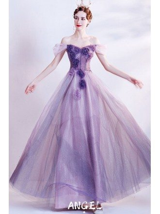 Fairytale Purple Bling Long Tulle Prom Dress with Flowers