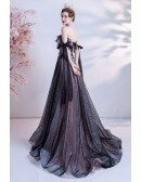 Beautiful Bow Knot Straps Long Black Prom Dress with Sequined Flowers