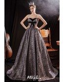 Formal Long Silver Striped Patterns Prom Dress with Bow Know