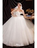 Strapless Simple Tulle Ballgown Wedding Dress with Cute Bow