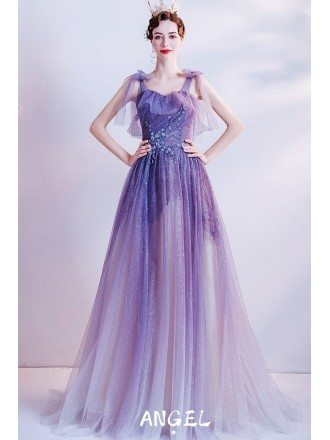 Ombre Bling Purple Tulle Unique Prom Dress with Strappy Straps