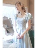 Cute Blue Satin Long Prom Dress Square Neckline with Bubble Sleeves