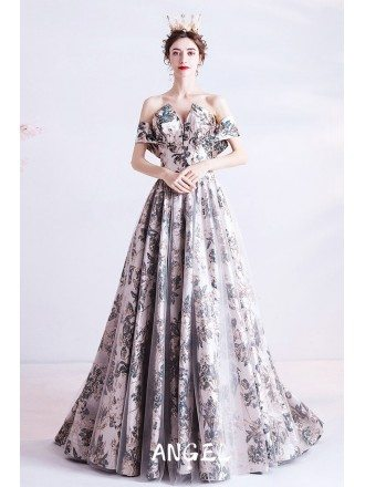 Unique Shinning Pattern Formal Long Prom Dress with Train