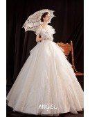 Romantic Bling Big Ballgown Wedding Dress Off Shoulder with Ruffles