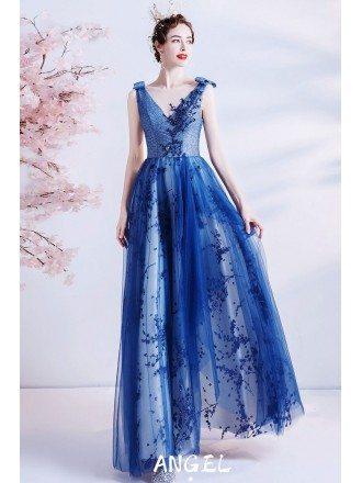 Elegant Blue Tulle Vneck Long Prom Dress with Flower Patterns