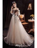 Coffee Bling Long Tulle Party Prom Dress with Straps