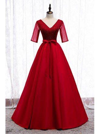Burgundy Vneck Formal Dress Sequined with Sleeves Sash