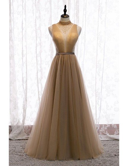 Flowy Champagne Tulle Deep Vneck Evening Prom Dress with Beaded High Neck