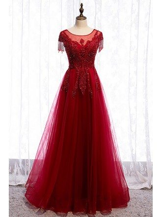 Modest Round Neck Burgundy Aline Tulle Formal Dress with Sequined Appliques