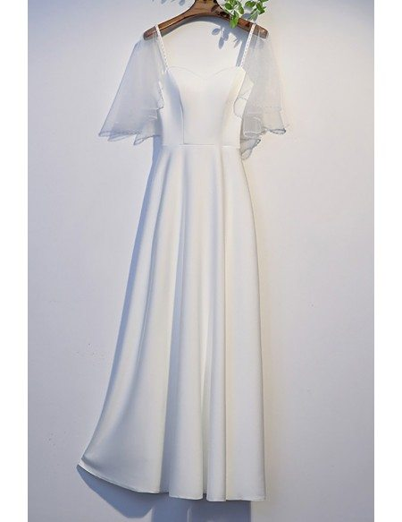 Pretty White Satin Simple Long Prom Dress with Dolman Sleeves
