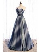 Fantasy Ombre Blue Party Prom Dress Strapless with Bling Mesh