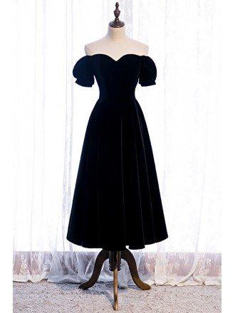 Simple Black Tea Length Velvet Dress with Off Shoulder Sleeves
