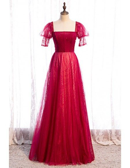Special Square Neckline Burgundy Long Party Dress with Sequins