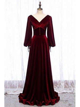 Dark Red Velvet Vneck Evening Dress with Lantern Long Sleeves