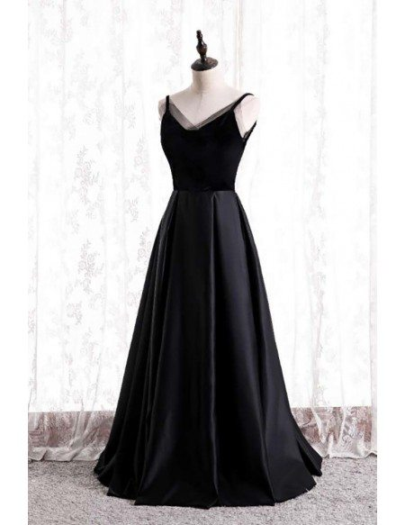 Formal Long Black Evening Dress Pleated with Straps