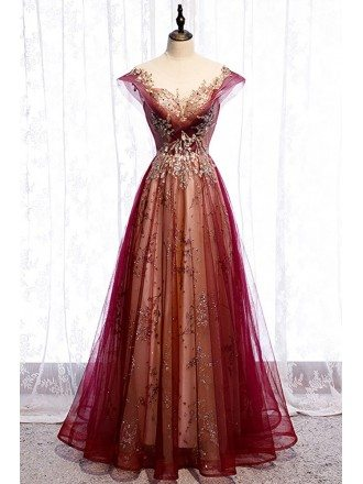 Illusion Neckline Burgundy Formal Prom Dress with Bling Gold Sequins Cap Sleeves