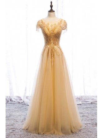 Flowy Sequined Gold Tulle Aline Long Formal Dress with Illusion Neckline