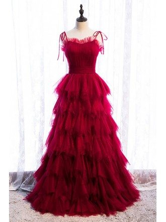 Burgundy Tiered Ruffle Tulle Party Dress with Straps