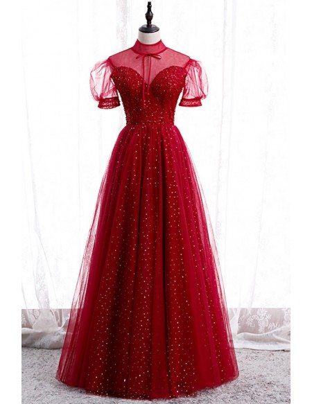 Burgundy Illusion Neckline Sequined Prom Dress with Bling Sleeves