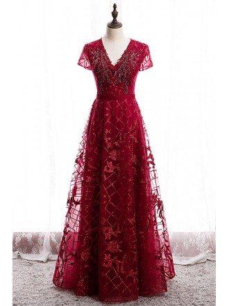 Modest Burgundy Vneck Sequined Formal Dress with Sleeves