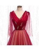 Burgundy Long Tulle Vneck Prom Dress with Dolman Sleeves