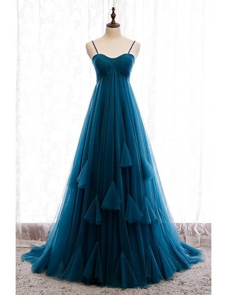 Simple Ink Blue Empire Long Tulle Formal Dress with Spaghetti Straps