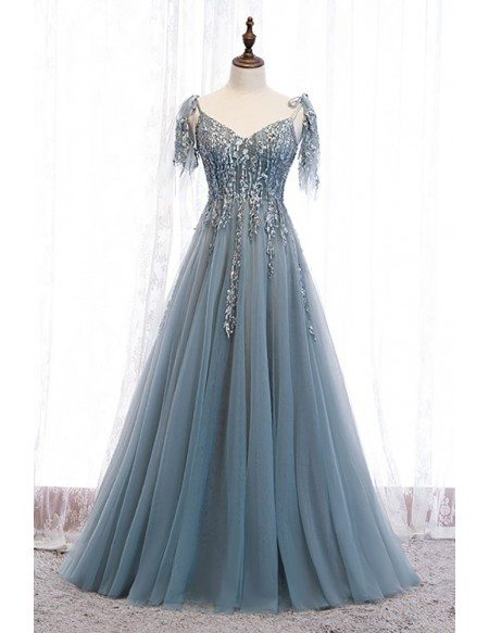 Dusty Blue Sequined Appliques Flowy Tulle Prom Dress with Straps