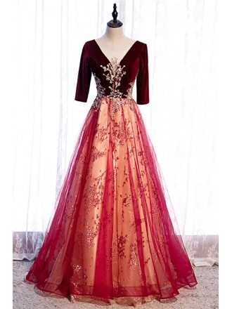 Vneck Burgundy Velvet with Tulle Long Formal Dress with Bling Sequins