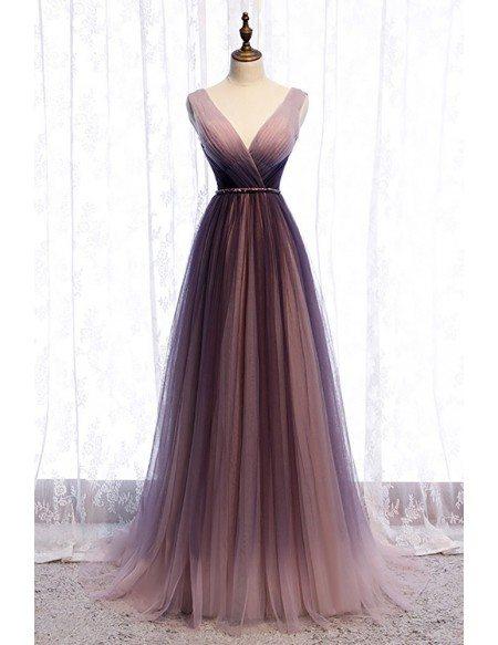 Deep Vneck Pleated Purple Tulle Formal Prom Dress Flowing