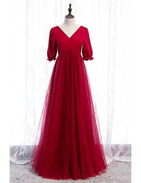 Modest Empire Long Tulle Burgundy Formal Dress Vneck with Sleeves