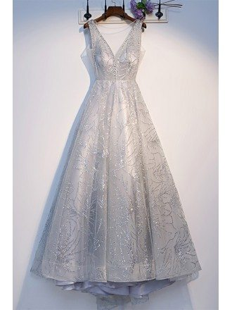 Silver Sparkly Sequins Long Prom Dress with Illusion Vneck